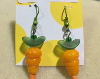 Lampwork Glass Carrot Earrings in Gold