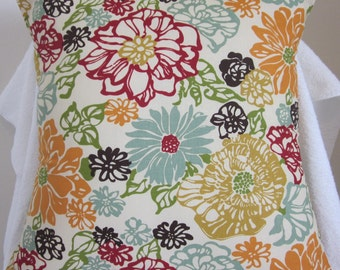 floral pillow cover 16x16 throw pillow cover flowers aqua mustard marsala floral print
