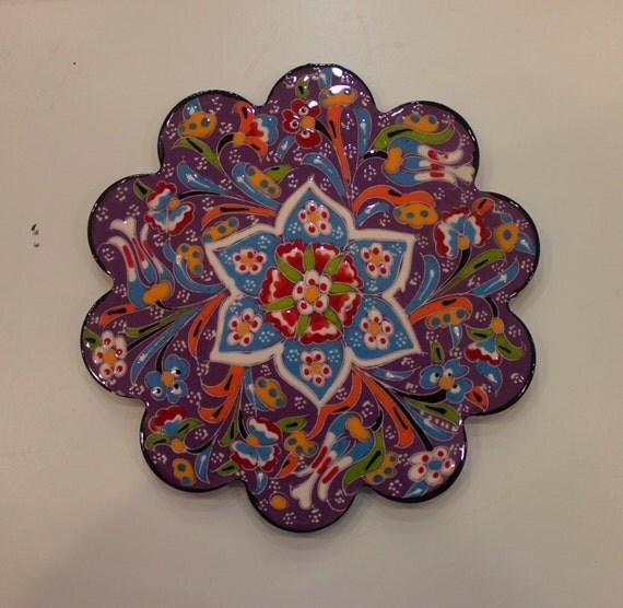 Large Ceramic Hot Pan Mat, Relief Design Tile, Ceramic Tile, Ceramic Mat, Tile for Hot Pans, Purple Tile, Purple Kitchenware, Floral Design