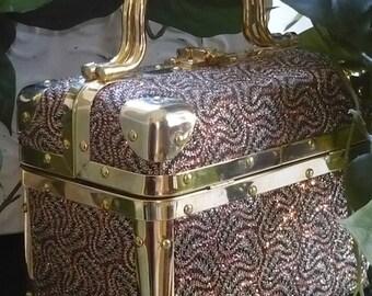 Vintage Borsa Bella Party Sequin Box Train Trunk Handbag