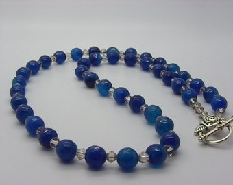 Blue agate necklace hard beads 8 mm a facets with glass crystal spacers