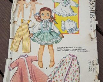 "Vintage 1957 McCalls Transfer Pattern 8"" Maggie Raggie Stuffed Doll and Wardrobe Uncut, McCalls 2195"