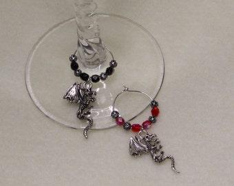 Dragon Wine Charms, Renaissance Wine Charms, set of 2