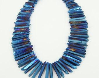 Natural Blue Quartz Point Bead Rough Mystic Titanium Crystal Quartz Stick Beads Charm Pendant Top Drilled Healing Crystals Strand Necklace