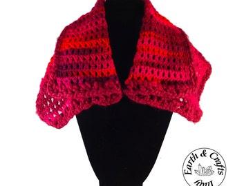 Crocheted neck warmer - melange red pure superwash wool (#234)