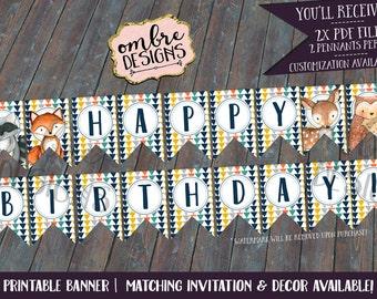 Woodland Animals Birthday Banner, Woodland Animals, Party, Decor, First Birthday, Wild One, Birthday Decor