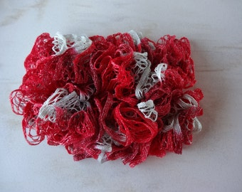 Handmade Ruffle Scarf in Red and Silver