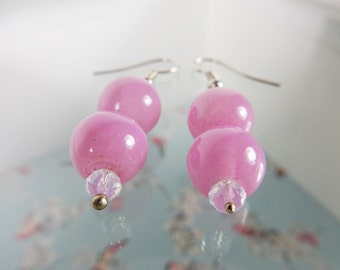 Pink Earrings, Dusky Pink Beads, Handmade Earrings, One of a Kind, Beaded Jewellery