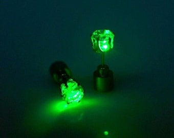 LED Earrings, Festival Jewellery, Light Up Earrings, Glow in the Dark Jewelry, Stud Earring, Unisex Earring