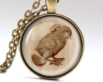 Chick Necklace, Egg Jewelry, Easter Pendant, Engraved Charm   LG987