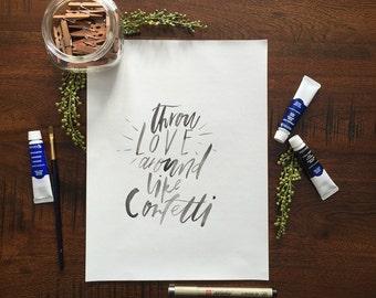 Throw love around like confetti painting