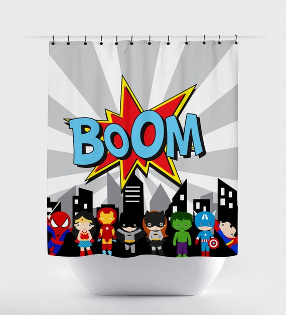 Superhero shower curtain boom comic super hero shower curtain comics