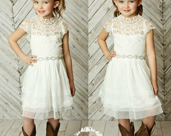 Stunning Flower girls dress,rustic flower girl dress, Off White lace dress,country flower girl, Lace and white tulle dress, Girls dress,