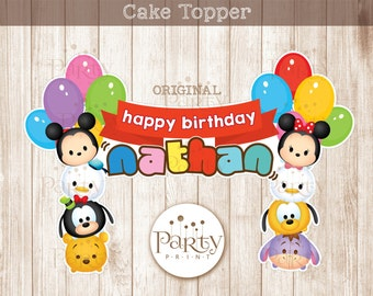 Tsum Tsum Inspired Cake Topper - Customized Name  (Digital Copy) **No physical item will be shipped