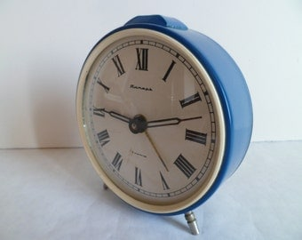 "Vintage Soviet Alarm Clock, ""Jantar"", Working Desk Table Clock from USSR, 1970's"