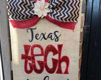 Burlap Texas Tech Garden Flag