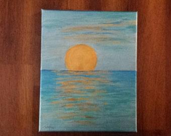 Sunset on the Ocean- handpainted original on 8x10 canvas