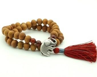 Jasper & Sandalwood Elephant Mala Bracelet
