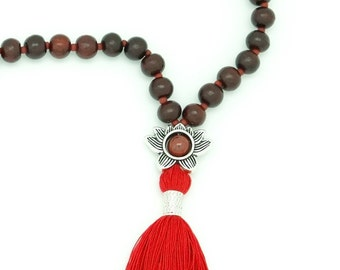 Rosewood & Red Jasper Lotus Meditation Mala