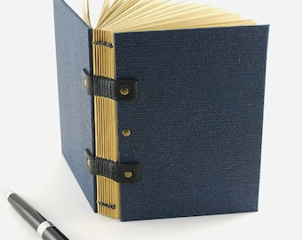 Notebook, gift man, leaves kraft paper quality, Coptic binding, for him, travel journal, book man