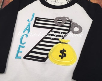 Cops and Robbers Inspired Birthday Raglan Style Shirt Personalized - Customized