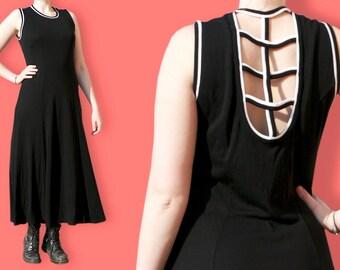 90s Maxi Black Dress - Health Goth Column Dress - Aesthetic Street Goth Sleeveless Dress - Lattice Caged Cut Out Back Minimalist Dress