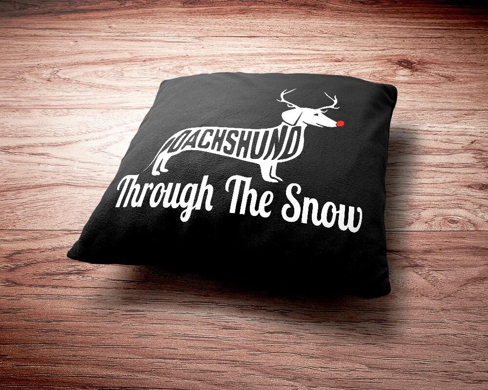 Dachshund Throw Pillow - Dachshund Through The Snow Christmas Throw Pillow