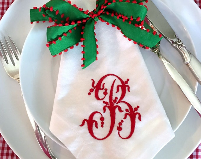 Featured listing image: Single Initail Monogram Napkins SET OF 4  ****PRESALE 12/04****