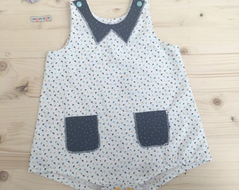 Romper - combination baby - all baby - size 12 months - 100% cotton