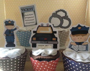 Policeman, Police Car, Law Enforcement Party Cupcake Topper Decorations - Set of 10