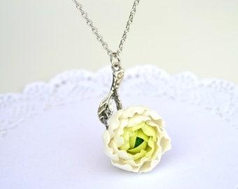 White peony flower necklace pendant jewelry. Wedding peony necklace jewelry. Polymer clay flower jewelry. Polymer clay flowers necklace