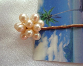 Bridal Pearl Hair Pin- Freshwater Pearl Hair Jewelry- Cultured Pearl Hair Pin- Classic Pearl Hair Pin- Evening & Bridal- Bridal Hair Piece