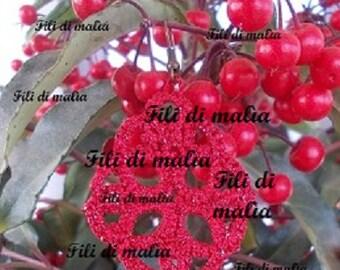 """Schema orecchini """" goccia di rosso""""- chiacchierino. Earrings scheme """" drop of red"""" - tatting"""