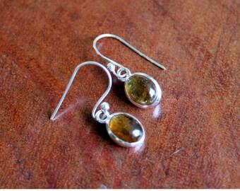 Tourmaline Sterling Silver Earrings, Gemstone Jewelry, 925 Sterling Silver Earring, Yellow Dangle Earrings