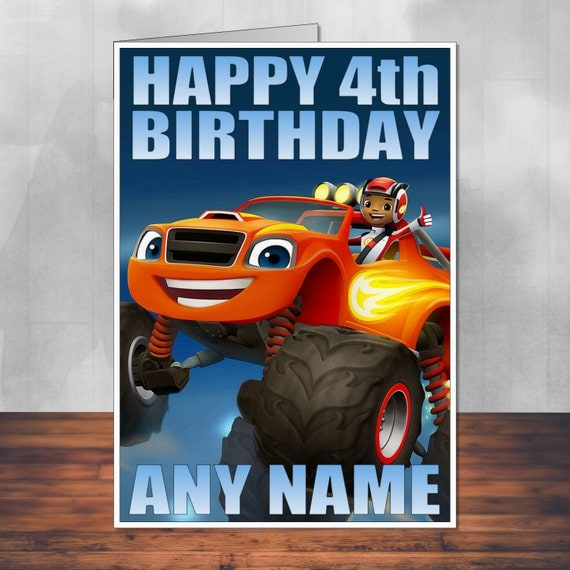 Blaze And The Monster Machines Birthday Card. By