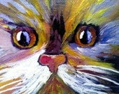 Acrylic Cat Painting, Calico Cat, Small Painting, Colorful Art, Home and Wall Decor, Art Decor, Canvas Board, Animal Painting, Modern Art