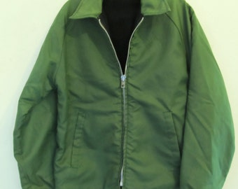 Marked Down 50%@@A Men's,Vintage 60's,Green Lined NYLON Hipster Work Coat By DEKALB.S.
