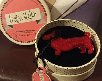 Handmade by Erstwilder Sausage Dog brooch resin