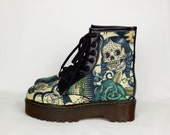 Tattoo style, day of the dead, custom boots, skull boot, women boot, green shoe, skeleton, customized boot, platform boots, alternative shoe