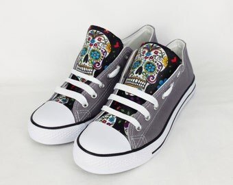 Grey skull shoes, custom converse, blue shoes, sugar skulls, day of the dead, women shoes, rockabilly, gift for her, birthday gift, skulls