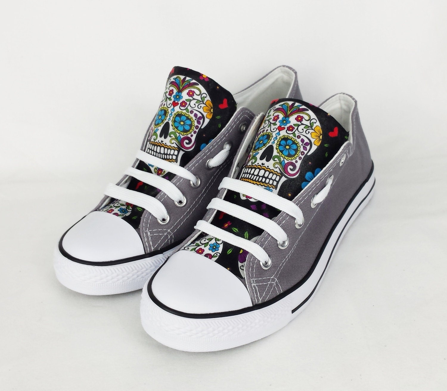 Grey skull shoes custom converse blue shoes sugar skulls