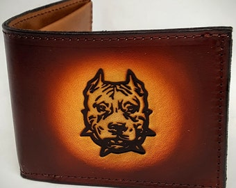 Pitbull Dog Breed Bifold or Trifold Leather Wallet
