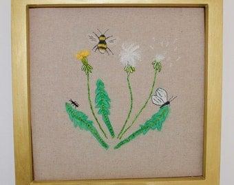 Hand Embroidered Dandelion design Wall Art