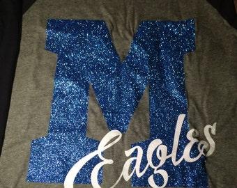 Large letter school mascot shirt - school spirit