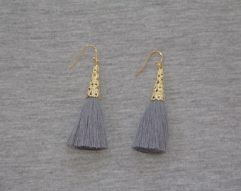 Grey Tassel Earrings with Gold Plating