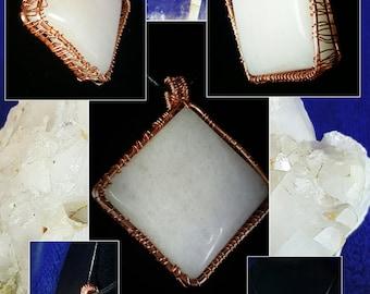 White Onyx Cabochon pendant Necklace