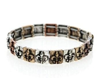 FLEUR DE LIS Aged Finish Stretch Bracelet (Silver and Gold)