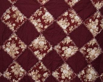 "Beautiful Burgundy Floral-Solid Burgundy Rag Quilt Reversible 69""x69"""