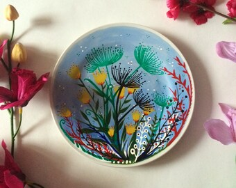Hand painted plate with lovely flowers - decorative piece
