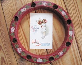 Antique German Birthday Candle Ring, Red  Children's Birthday Candle Ring, Birthday Table Decor, German Child's Birthday Candle Ring